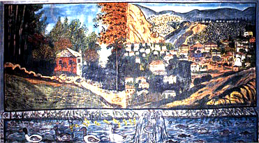 Theophilos Museum, landsape picture by Theofilos primitive painter (early 20th c.)